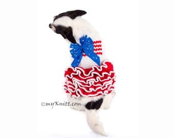 July 4th Dog Dress, Crocheted Dog Sweater, USA Flag Dog Clothes, 4th of July Chihuahua Clothes DK791 by Myknitt - Free Shipping