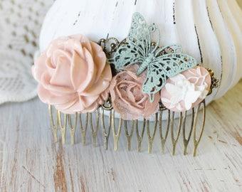 Pink Wedding Hair Piece - Wedding Hair Comb - Green Bridal Hair Comb - Pink Wedding Hair Accessories - Flower Hair Comb - Floral Hair Comb