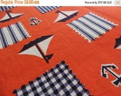 40% OFF NOW Terrific Red, White, and Navy Nautical Fabric Remnant, Sailboat Motif Print Fabric, Vintage Novelty Print, Destash Fabric, 1 1/3