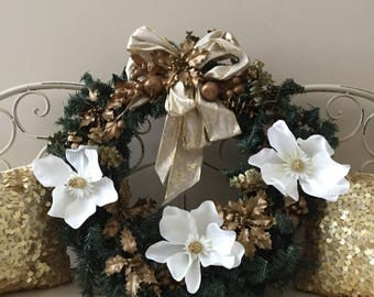 Gold Christmas / Holiday Wreath