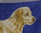 Vintage Tea Towel, Ulster Irish Linen, Vintage Linen, Irish Linen, Golden Labrador, Dog Towel, Blue Linen, Retro Towel, Dog Lover, Never Use