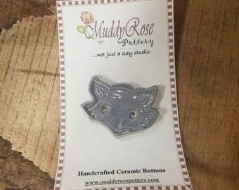 Hand Made Ceramic Fox Button
