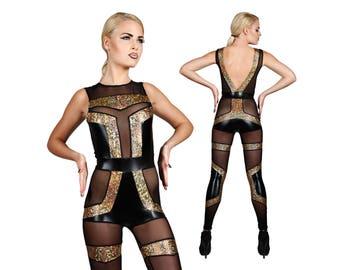 Futuristic Spandex Catsuit, Dance Costume, Stage Wear, Futuristic Clothing, Burning Man, Aerial Silks Leotard, Music Video, by LENA QUIST