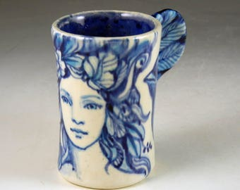 Blue and white small espresso bird cup with lovely girl and wing handle