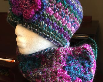 Handmade Women's hat and scarf set