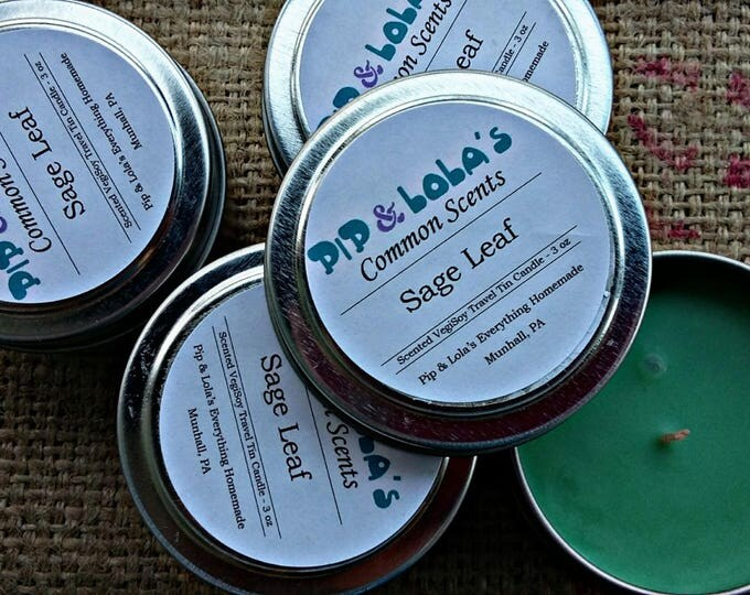 Sage Leaf Scented Travel Tin Candle - Pip & Lola's Common Scents - Soy Candle Wax, Travel Tin, Soy Wax, EcoSoy, Candle, Lightly Scented