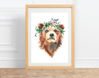 Bear in a blueberry Crown, animal portrait, watercolor print by Abigail Gray Swartz