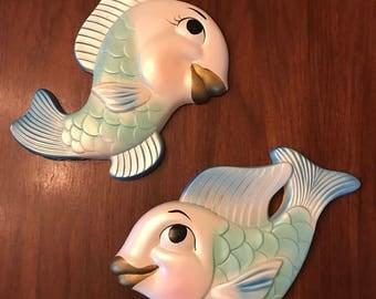 Vintage Miller studios Chalkware Fish Set of Two 1964 Original Paint