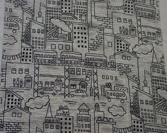 """Vintage Cotton Fabric Novelty Print Black,White City 36"""" Wide 6 Yards Available"""