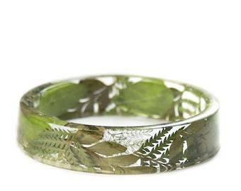 Green Fern Jewelry -Real Dried Flower- Resin Bangle- Forest Jewelry- -Green Bracelet- -Resin Jewelry- Flower Jewelry- aModern Flower Child