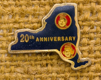New York Silhouette Enamel Vintage Lapel Pin NY State 20th Anniversary Angels Dark Navy Gold Red Button Vtg Pin 7AN