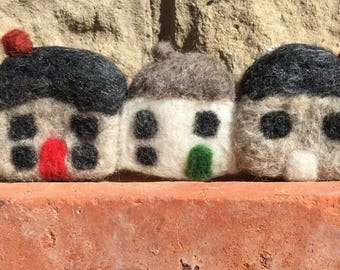 Needle felted cottages