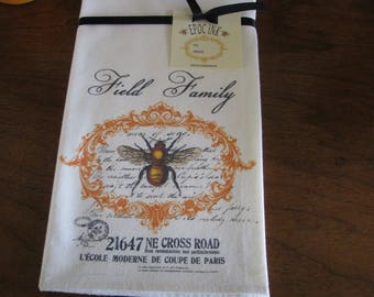 Personalized Towel Bee Flour Sack Custom Tea Towel