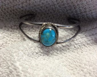 Turquoise Cuff Bracelet Unmarked Vintage