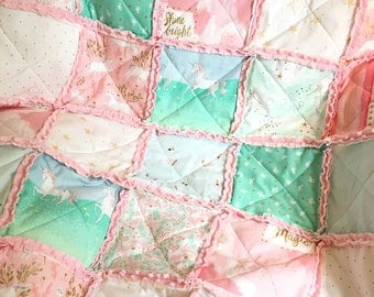 Crib Rag Quilt Baby Girl Crib Bedding Unicorn Nursery Pink Mint Gold Nursery