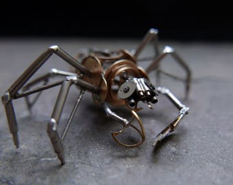 "Mechanical Arthropod ""Infestor"" Recycled Watch Parts Spider Justin Gershenson-Gates Watch Faces Stems Gears Arthropod Clockwork Robot Insect"