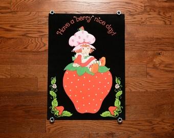 "vintage 70s Strawberry Shortbacke poster black velvet black light poster Have A Berry Nice Day 1970 wall decor 20""x28"""