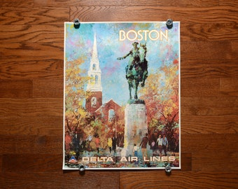 vintage 60s Delta Air Lines poster Boston Paul Revere Old North Church Jack Laycox painting artwork 1960 travel poster 28x22 Boston Strong