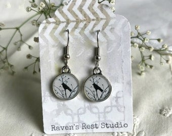 Handmade Resin Earrings. Crow. Vintage Style. Dangle Drop Earrings. Surgical Steel. Gift For Her. Crow Raven Black Bird In Tree Branches
