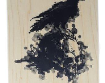 Inkadinkado Happy Halloween Raven on a Skull Wooden Rubber Stamp