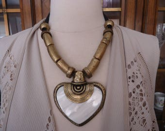 Vintage Rustic Antique Brass and Leather Cord Necklace w/ Mother of Pearl Heart Pendant, Boho Statement Jewelry