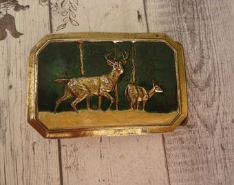 Vintage Belt Buckle, Enameled Brass Deer in Forest, The Great American Buckle Co, Chicago, 1976 Limited Edition, Unisex Design
