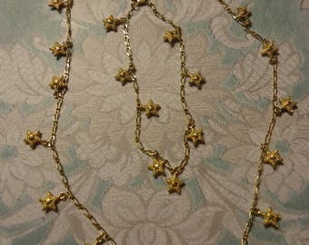 Vintage 2 Piece Jewelry Set, Gold Tone Necklace and Anklet w/ Stardust Textured Star Charms