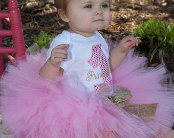 3 piece Pink tutu with gold glitter ribbon set,  Pink and gold tutu, 1st birthday tutu, baby girl 1st birthday outfit, pink and gold tutu