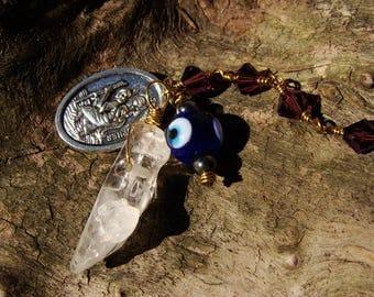 Unique Wedding Gift. Evil Eye Amulet. Car Charms. Travel Protection. St Christopher Medal. Quartz Crystal. Purple Swarovski Crystal Beads