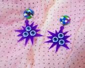 Limited Edition: Psychedelic Kaleidoscope Eyes Purple Acrylic Earrings