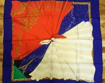 Vintage Authentic HERMES 'Souvenirs de Paris' Silk Scarf Hilton McConnico Eiffel Tower