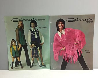 Spinnarin Big n' Little Vests Folio 312 - Peppy Poncho Folio 314  - 1970s fashion