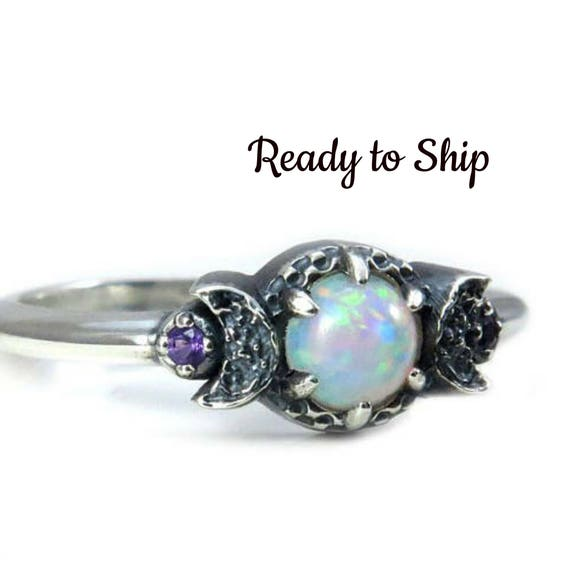 Ready to Ship - Lab Opal Crescent Moon Ring - Black or White Diamond Sides - Silver Engagement Ring by Swankmetalsmithing