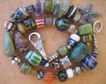 15%off AFRICAN BEADED BRACELET hippie boho chic bracelet starfish charm