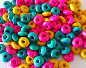 set of 20 wooden puck 6x2mm beads