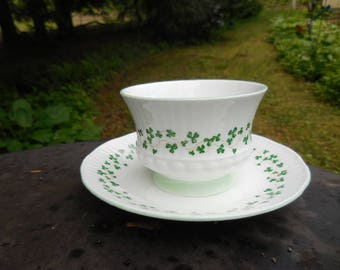 Vintage 1960s to 1980s English Elizabethan White Fine Bone China Cup No Handle Saucer Shamrocks/Clovers England Not Perfect