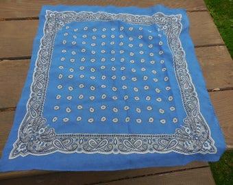 Vintage 1960s to 1970s Blue Paisley Handkerchief/Scarf/Bandana Silky Square Black/White Retro Women's Accessory