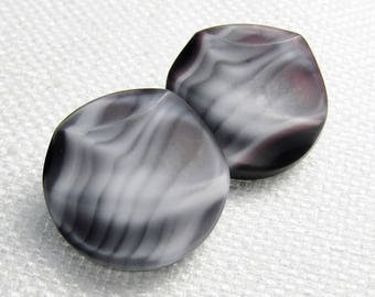 "Glass Waves: 11/16"" (18mm) Gray/White/Black/Purple Molded BGE Buttons - Set of 2 Vintage Glass Buttons"
