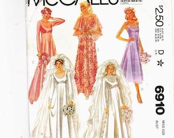 McCalls 6910 Size 16 UNCUT Wedding Dress and Veil, Cape, Bridesmaid Dresses