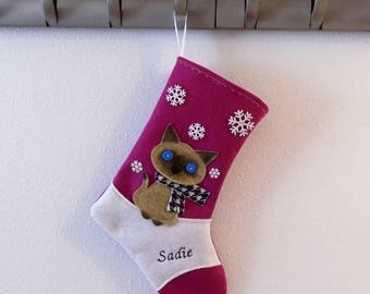 CHRISTMAS IN JULY Siamese Cat Kitten Personalized Christmas Stocking by Allenbrite Studio