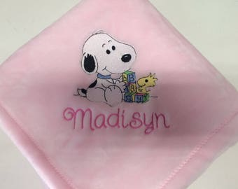 Embroidered Personalized Snoopy Blocks Baby Blanket