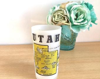 "1950's Hazel Atlas ""Utah"" State Souvenir Tumbler Vintage"