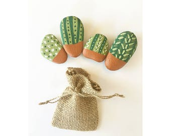 Cactus Rock Magnets. Stone Art. Rock Painting. Handmade Gifts. Southwest Home Decor. Cute. Quirky. Cactus. Cacti. Green. Emerald Sage .