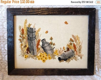 ON SALE Rustic Farm House Wall Hanging Embroidery Art Wild Flowers