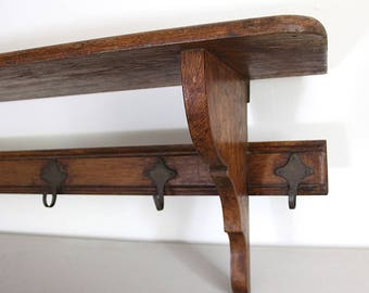 French Antique Farmhouse Kitchen Shelf, Pot Shelf, Large Wooden Kitchen Storage Shelf, Coat Rack, Hat Rack 49.5""