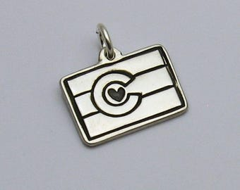 Sterling Silver Colorado State Flag Charm, Colorado Pride, Colorado Jewelry, State Jewelry, Colorado Souvenir, Colorado Flag, Colorado Charm