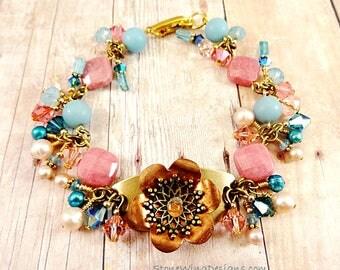 Mixed Metal Bracelet, Gemstone Bracelet, Pink and Blue, Rustic Boho Bracelet, Bohemian Bracelet, Artisan Bracelet, Handmade Bracelet
