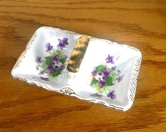 Violets Dish with Gold Accents Divided Sweet Violets Bowl/Tray Norcrest Fine China Cottage Chic 1950s Home Decor