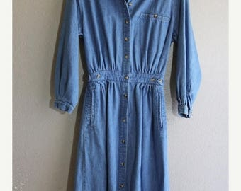 SALE Vintage Blue Denim Long Sleeve Button down Casual Dress- hippie Boho casual chic modern