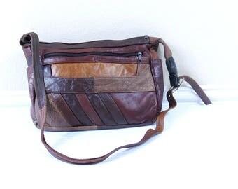 vtg 80s brown PATCHWORK leather HOBO BAG slouchy purse handbag retro large caramel cocoa boho hippie